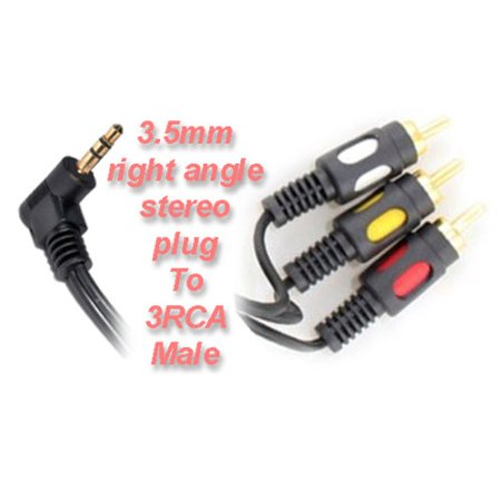 - 12ft 3.5mm 4 pole right angle stereo plug male to 3 RCA plugs male audio cable
