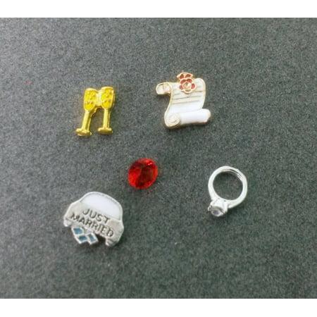 Purse Locket Charm (5 PC - Wedding Theme Enamel Silver Charm for Floating Locket Jewelry T0058)