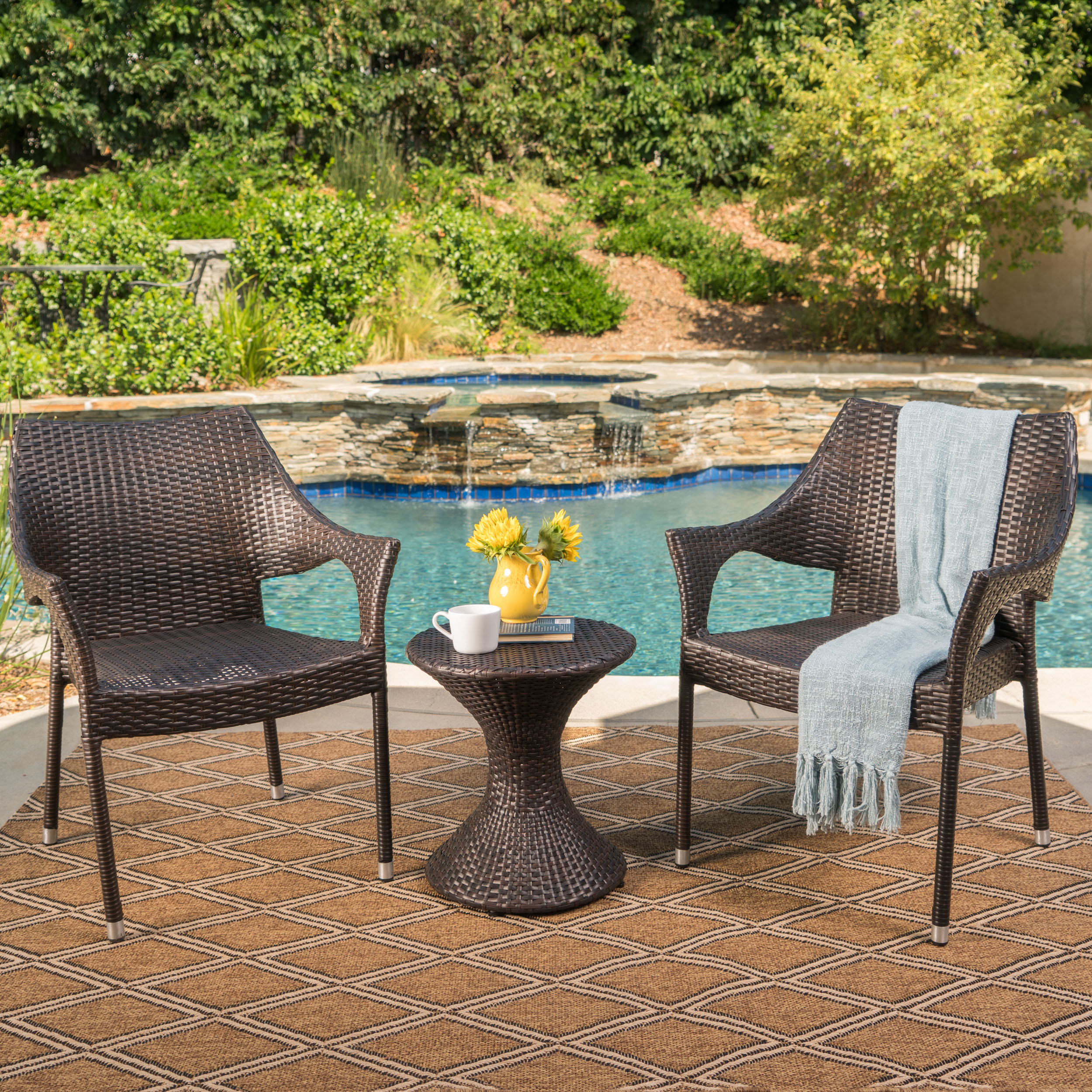 Astrid Outdoor 3 Piece Wicker Chat Set with Stacking Chairs and Hourglass Side Table, Multibrown