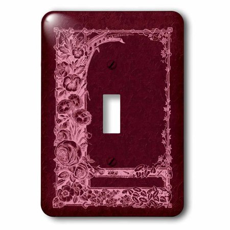 3dRose Monotone floral trellis design in negative on a burgundy damask background, Single Toggle Switch - Floral Single Toggle