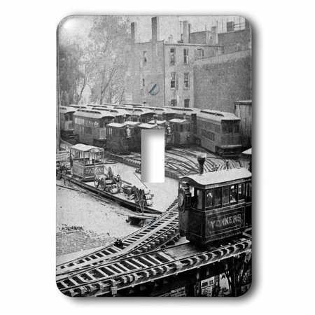(3dRose New York City Train on NY Elevated Railroad Yonkers Switch Station 1860s, 2 Plug Outlet Cover)