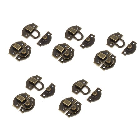 Unique Bargains 27mm Length Antique Wood Box Latch Hook Hinge Bronze Tone 10 Pcs w Screws
