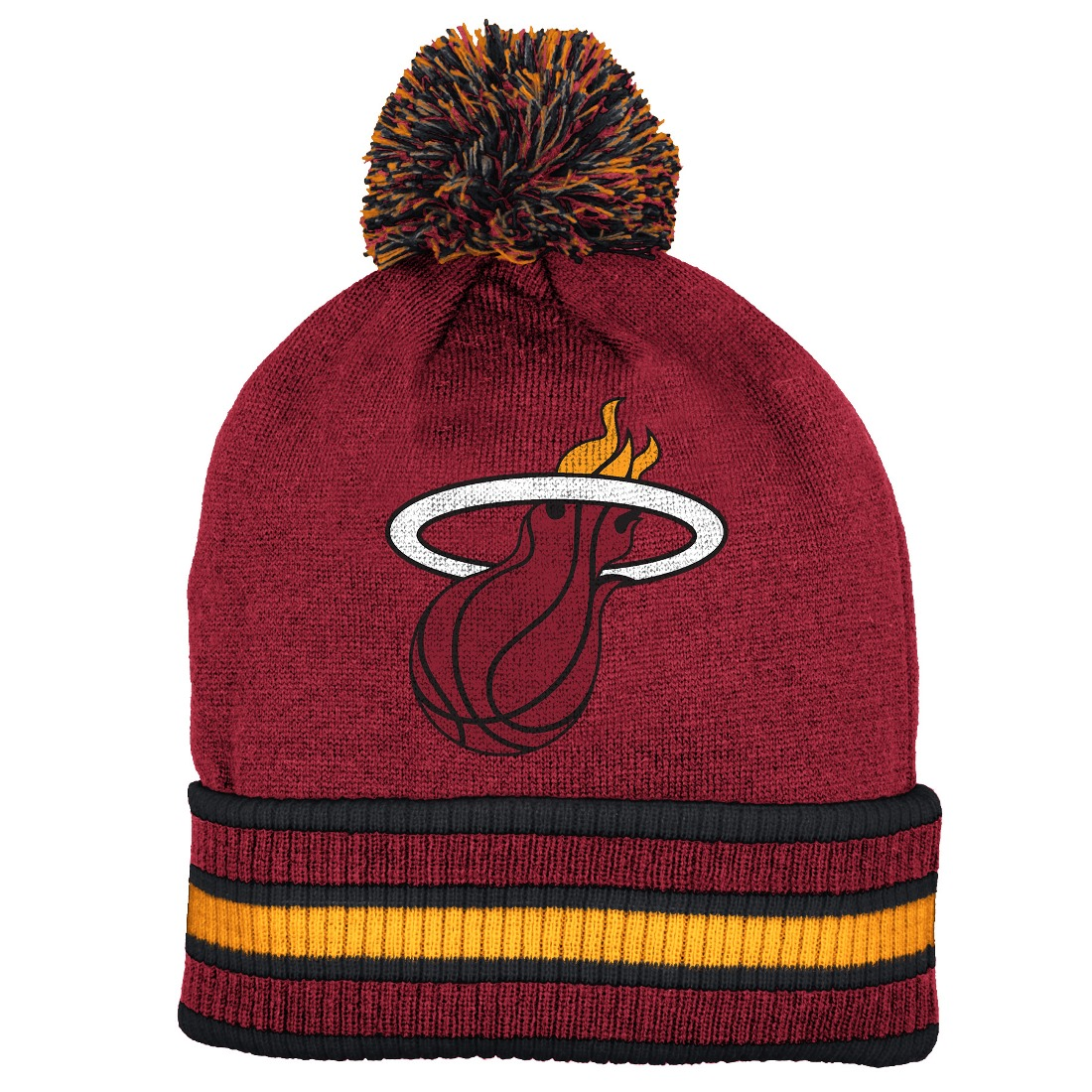 Miami Heat Adidas NBA Name & Logo Cuffed Premium Knit Hat w  Pom by Adidas