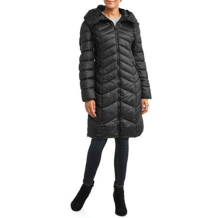 30 First Women's Chevron Puffer Coat with Faux Fur Trim Hood