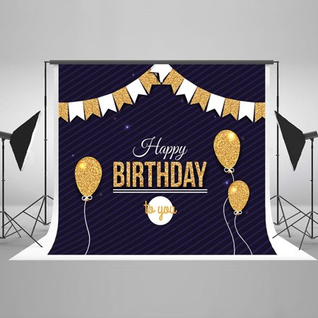 GreenDecor Polyster 7x5ft Photography Children Background Newborn Happy Birthday Backgrounds Baby Backdrops Golden balloon