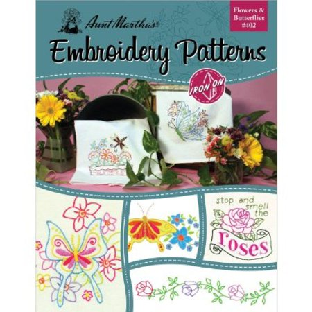 Aunt Martha's Flowers and Butterflies Embroidery Transfer Pattern Book, Over 25 Iron On