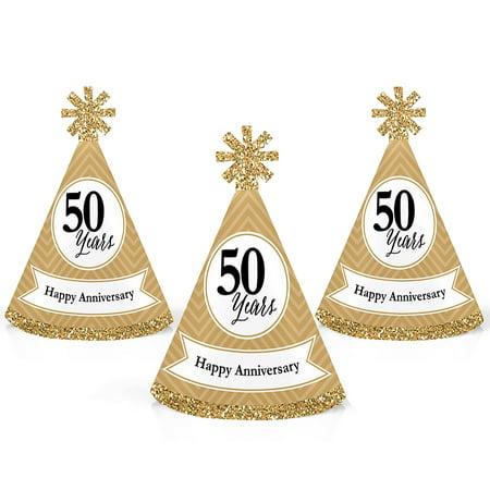 We Still Do - 50th Wedding Anniversary - Mini Cone Anniversary Party Hats - Small Little Party Hats - Set of 10 - Mini Snowman Hats