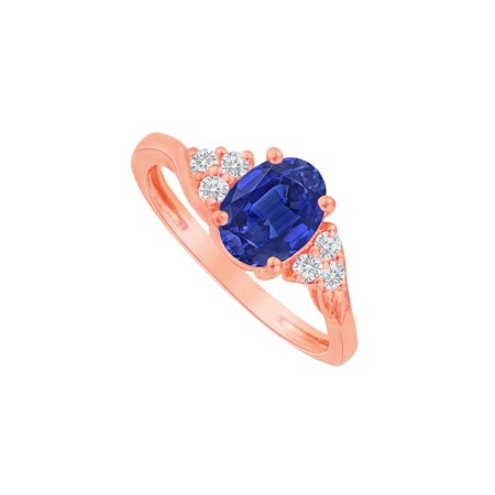 Oval Sapphire and CZ Ring in 14K Rose Gold Vermeil - image 2 de 2
