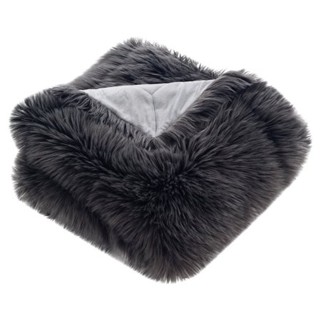 Safavieh Faux Grey Shadow Fox Solid Fur Throw - Fox Faux Fur Throw