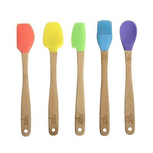 "Core Kitchen 8.25"" 5pc Silicone Mini Utensil Set with Bamboo Handles - Neons"