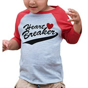 7 ate 9 Apparel Youth Heart Breaker Happy Valentine's Day Large Red Raglan