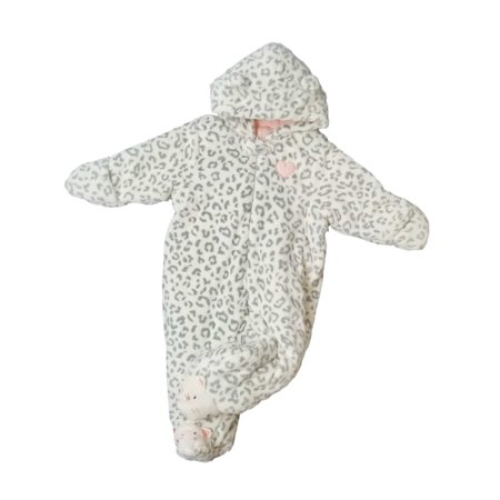 Infant Girls Fuzzy Leopard Kitty Cat Sherpa Snowsuit Baby Bunting Pram 6-9M - Leopard Baby Bunting