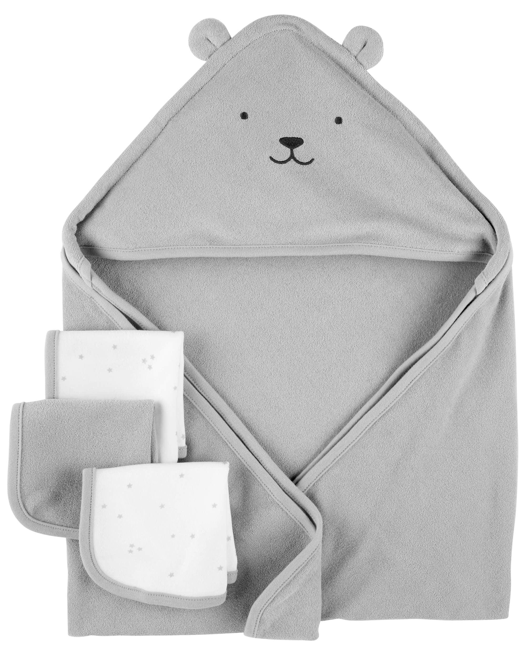 Carter's Hooded Towels & Washcloths Set, 4pc, Grey Bear