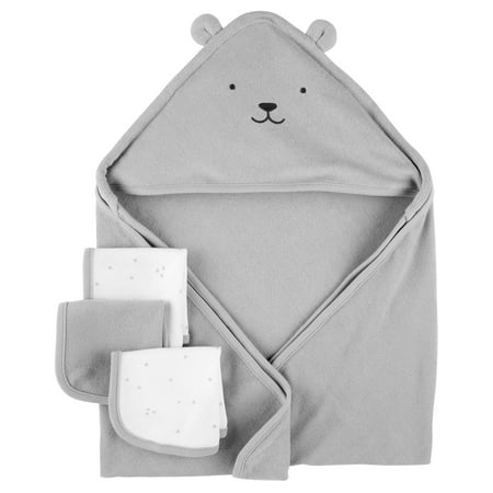 Carter's Hooded Towels & Washcloths Set, 4pc, Grey Bear