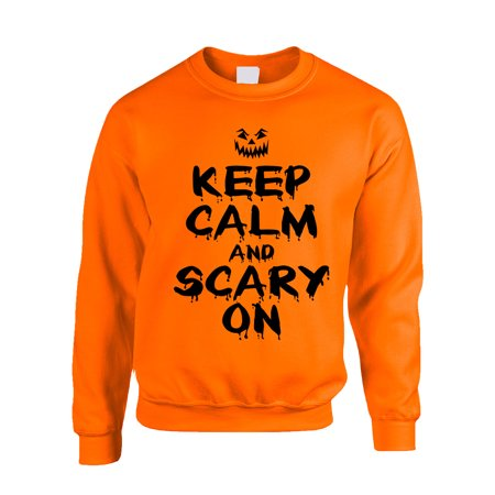 Allntrends Adult Crewneck Keep Calm And Scary On Halloween Costume Idea - Cool Scary Halloween Party Ideas