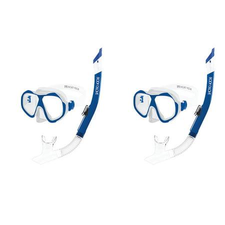 Snorkel Pack - Body Glove Enlighten II Large/XL Diving Snorkel Goggles Mask Set, Blue (2 Pack)