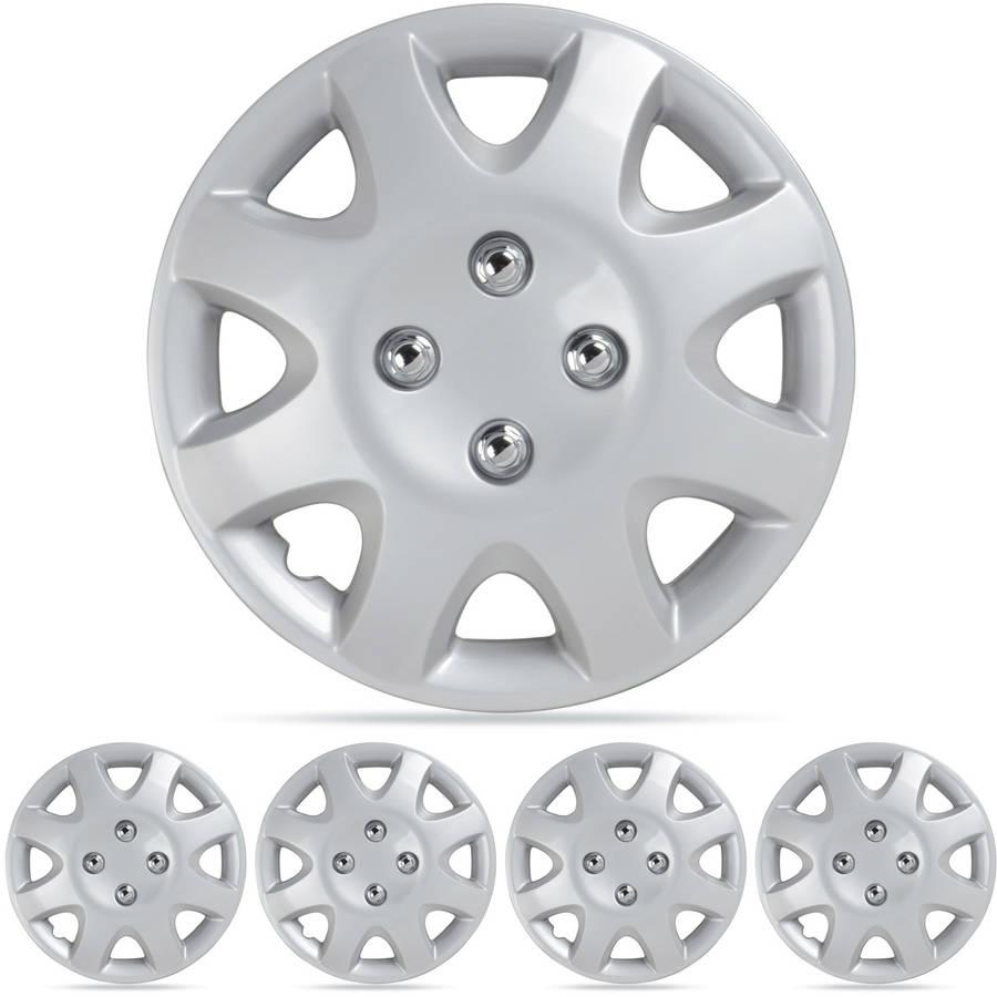 "BDK Honda Civic Style Hubcaps Wheel Cover, 14"" Silver Replica Cover, 4 Pieces"