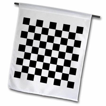 Race Car Checkered Flag (3dRose Check black and white pattern - checkered checked squares chess checkerboard or racing car race flag, Garden Flag, 12 by)