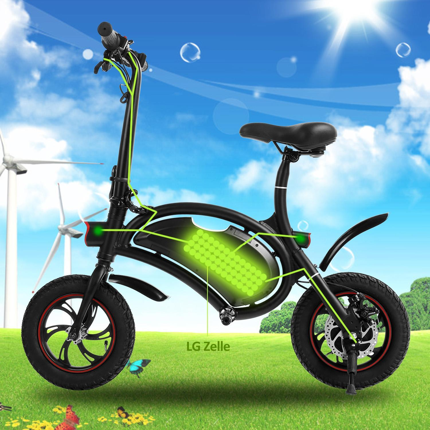 Wishmall 11.8 inch Aluminum Folding Electric Bike Portable Electric Bicycle 20KM Range