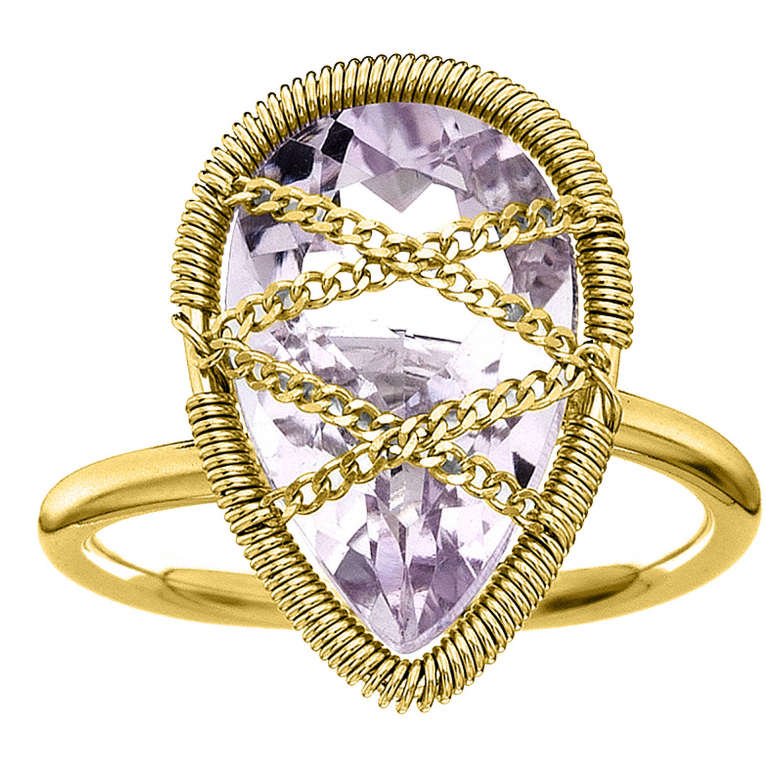 Image of 5th & Main 18kt Gold over Sterling Silver Hand-Wrapped Teardrop Amethyst Stone Ring