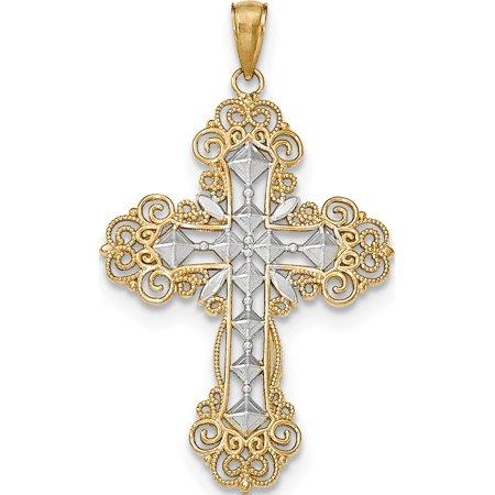 Leslies Fine Jewelry Designer 14k Yellow Gold w/Rhodium Polished & Textured Diamond Pattern Cross Pendant Gift