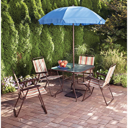 Mainstays Glenmeadow 6-Piece Folding Patio Dining Set with Umbrella