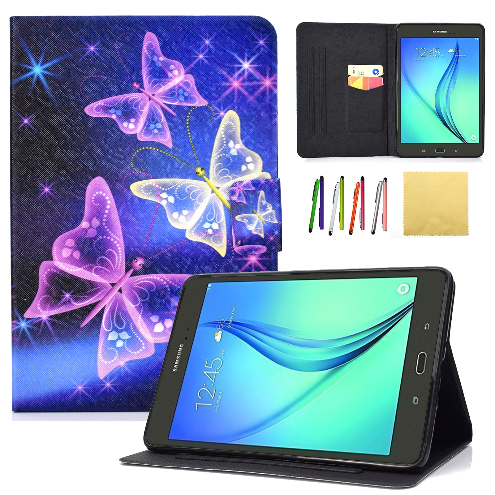 "Galaxy Tab A 8.0 (8.0 inch, SM-T350 P350) Case, Goodest Slim Folio Flip Stand Cover with Auto Wake Sleep [Card Slot Wallet Case] for Samsung Galaxy Tab A 8.0"" Tablet, Sparkle Butterfly"