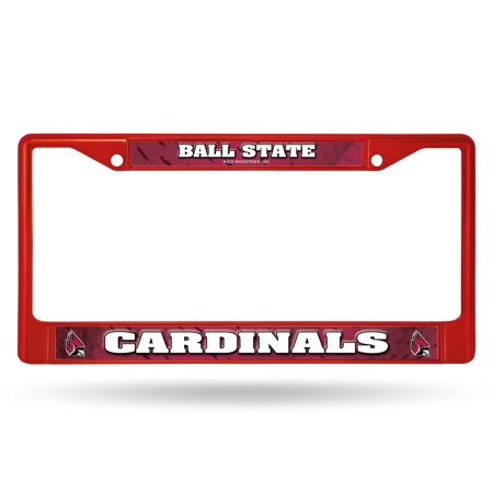 Ball State Cardinals NCAA Red Painted Chrome Metal License Plate Frame