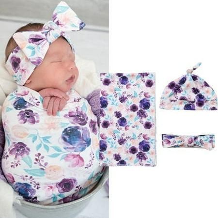 3Pcs Newborn Baby Floral Snuggle Swaddling Wrap Blanket Sleeping Bag Swaddle (Toddler Swaddle Blanket)