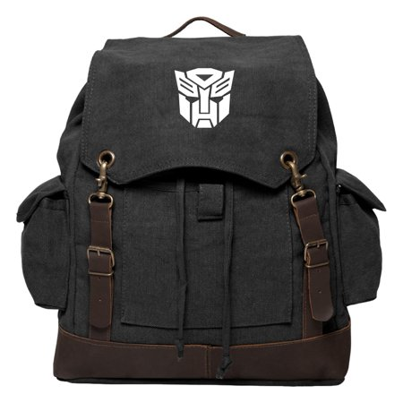 Autobot Transformers Logo Vintage Canvas Rucksack Backpack with Leather