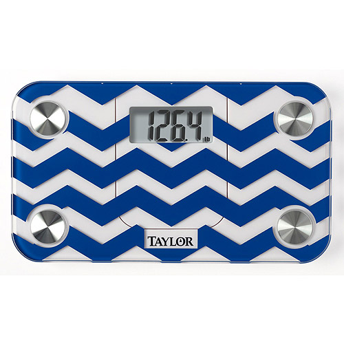 Taylor 7086 Digital Glass Mini Scale, Blue Chevron