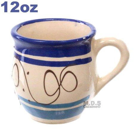 Tazas De Barro 12 Oz-10 Oz Jarrito Artisan Artezenia Mexican Clay Traditional Authentic Ponchero Hot Chocolate Champurrado Tepache Pulque Mug Cup Handmade Decorative (Blue 12 Oz)