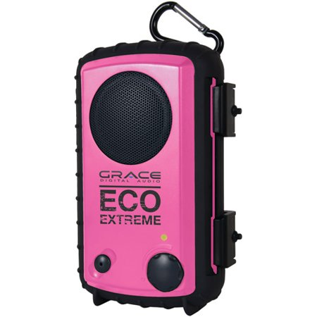 Grace Digital Audio Eco Extreme Rugged Waterproof Case with Built-In Speaker for MP3 Players and Smartphones, Pink