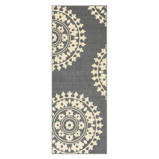 Qute Home Area Rugs 2x6 Feet Non Slip Rubber Backed Runner Rug Grey Ivory Medallion Hallway Carpet Entry Runner Rugs 2 X 6 Feet Runner Rug Walmart Com Walmart Com