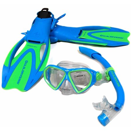 US Divers Dorado Mask Seabreeze Jr. Snorkel Proflex Jr. Fin Snorkel Set - Kid's