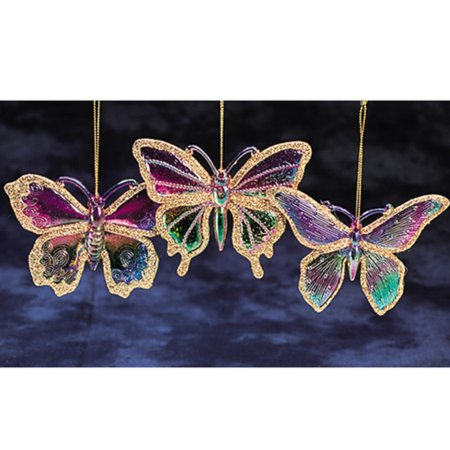 Pack of 36 princess garden iridescent glitter butterfly for Outdoor butterfly ornaments