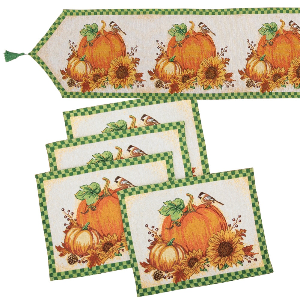 Pumpkin Gingham Border Tapestry Table Linen Placemats Runner Set 5pc by Collections Etc