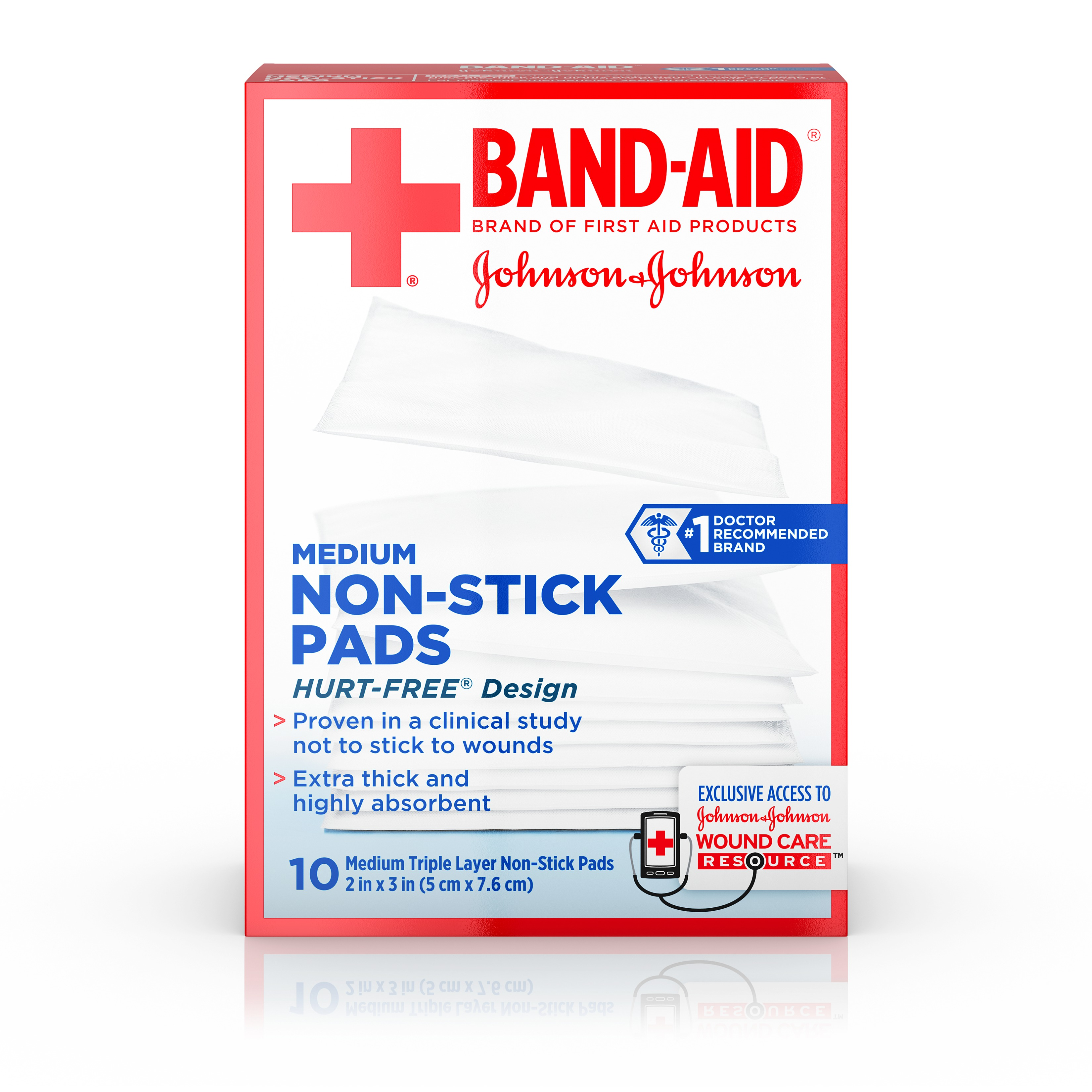 Band-Aid Brand Adhesive Bandages, Medium Non-Stick Pads for Minor Cuts, 10 2-inch x 3-inch Pads
