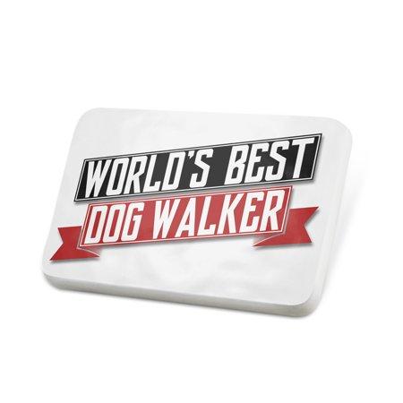 Porcelein Pin Worlds Best Dog Walker Lapel Badge – NEONBLOND