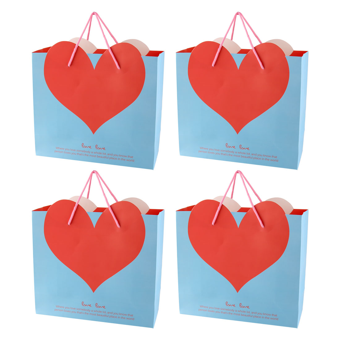 Shopping Mall Heart Shaped Pattern Foldable Holder Tote Gift Bags Blue 4 PCS