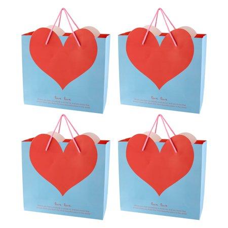 Shopping Mall Heart Shaped Pattern Foldable Holder Tote Gift Bags Blue 4 PCS - image 3 de 3