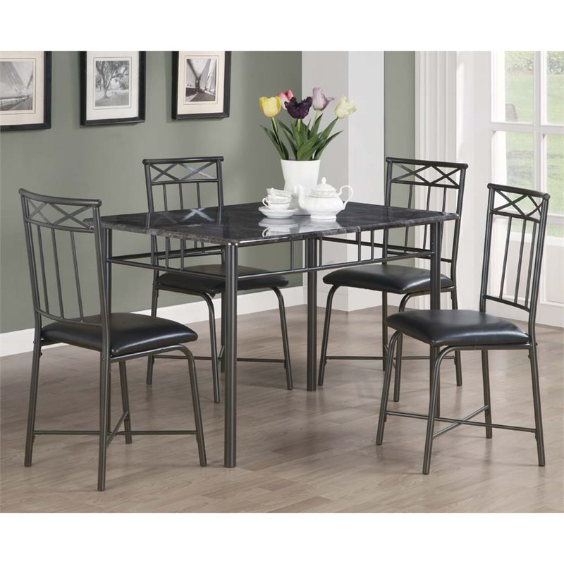 Kingfisher Lane 5 Piece Faux Marble Top in Gray