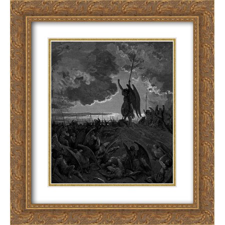 Gustave Dore 2x Matted 20x24 Gold Ornate Framed Art Print 'They heard, and were abashed, and up they sprung'