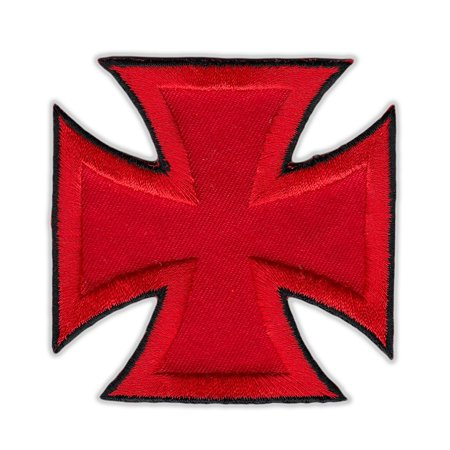 Motorcycle Jacket Embroidered Patch - Maltese Cross (Red, Black Trim) - Vest, Cut, Leathers - 3