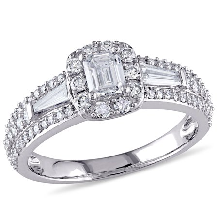 1 Carat T.W. Diamond 14kt White Gold Square Halo Engagement