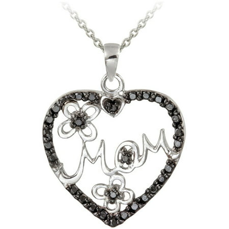 Black Diamond Accent Sterling Silver Mom Heart Pendant