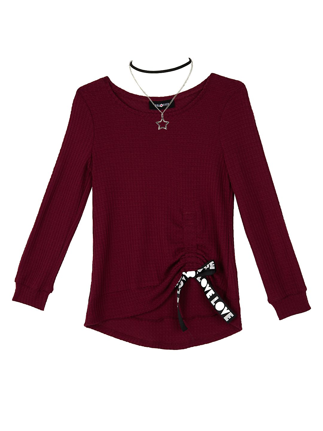 Girl's Long Sleeve Cinched Front Top