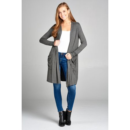 Long Open Cardigan (Women's Lightweight Cardigan Knee Length Long Sleeve Draped Open Front with Pockets Several Colors )