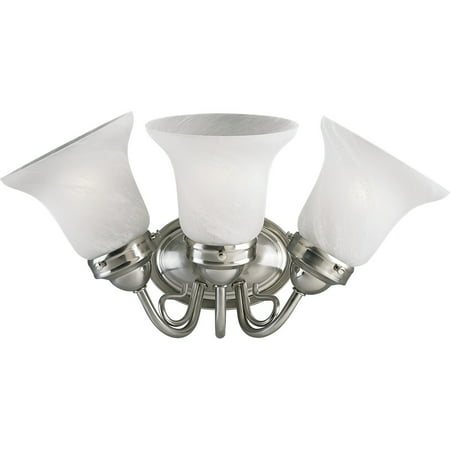 Progress Lighting P3188EBWB Bedford Energy Efficient Three-Light Bathroom Fixture with Etched Alabaster Glass Shades
