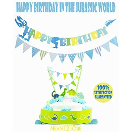 Blue Happy Birthday Banner Dinosaur Animals Zoo Bunting Cake Topper Garland Handmade Decor Dino Th